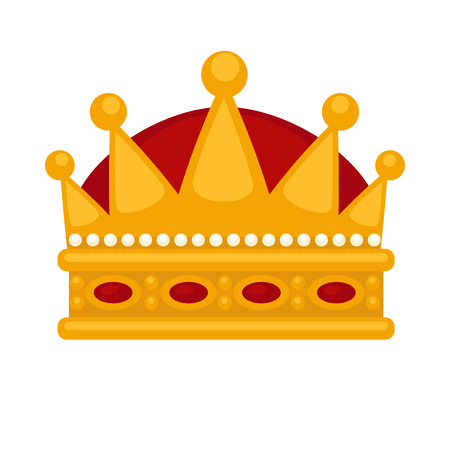 jewels: Gold crown flat icons. Vector isolated Illustration. Royal king or queen, princess crown. Awards for winners.
