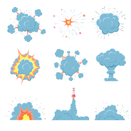 vector bomb: Cartoon vector bomb explosion with smoke. Cartoon style. Effect boom, explode flash, bomb comic. Blast with fire and cloud. Illustration of burst isolated on white background.