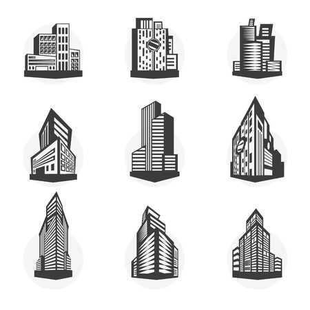 multistorey: Set of black high-rise buildings and facades of buildings. Collection of modern city buildings. Real estate icons. Urban architecture in flat style. Vector illustration isolated on white background. Illustration