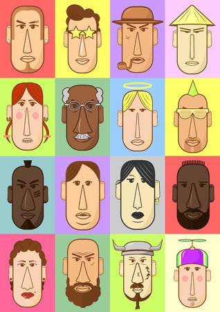 mexican boys: Set of person characters. Cartoon style people icons. Collection of illustration with different nationality faces. Hand drawn vector drawing of avatar head.