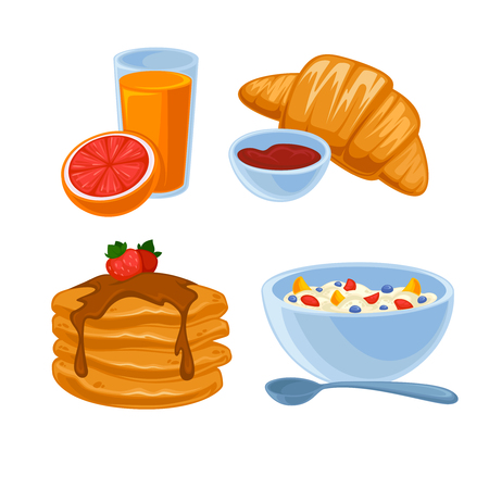 breakfast cereal: Vector breakfast food set. Icons of healthy food orange juice, eggs and bacon, croissant, pancakes, cereal and waffles. Cartoon illustration isolated on white. Illustration