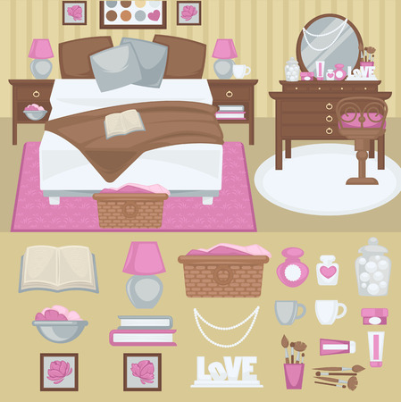 bedroom bed: Woman bedroom interior with furniture. Room with bed and boudoir, table and mirror, chair and lamp. Pink girl design. Flat style. Vector illustration Illustration