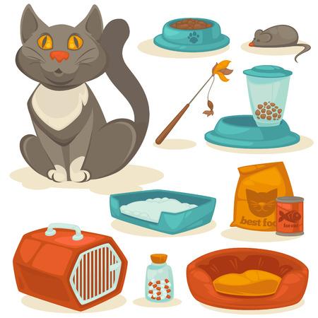 plastico pet: accesorios del gato fijadas. Fuentes del animal doméstico: alimentos, juguetes, ratón, taza y cuadro, inodoro y equipos para el aseo. estilo de dibujos animados. Ilustración del vector aislado en el fondo blanco.