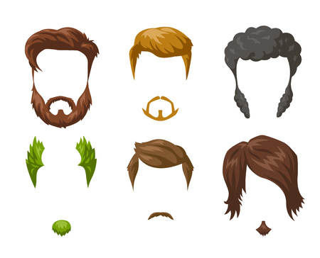 handsome men: Beards, mustaches and hairstyles set. Different male styles and types of haircuts. Vector Illustration isolated on white.