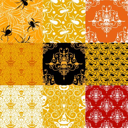 happy web: Happy Halloween background. Set of seamless patterns with traditional holiday symbols skulls, spider on web. Collection vector illustrations. Illustration