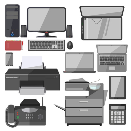 computer equipment: Set of technology equipment for office. Business icons: computer, printer and phone, laptop and telephone. Digital vector illustration isolated on white background.