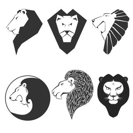 Set of animal emblems. Labels and lion. Graphic sign, icon with leo head. Symbol of king, strength. Flat style. Black vector illustration isolated on white background Illustration