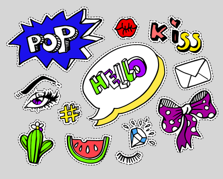 patches: Fashion modern doodle cartoon patch badges or stikers with speach bubbles, stars, heart, lips and other elements. Set of cartoon pins in 80s 90s pop art. Vector Illustration.