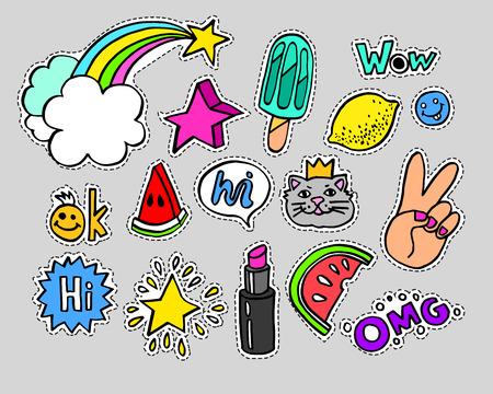現代のファッションは落書き漫画パッチ バッジや吹き出し、星、ハート、唇と他の要素と stikers。設定 90 年代 80 年代の漫画ピンのポップアートしま