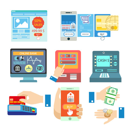 bank transfer: Vector illustrations with online banking payment. Set of payment methods: credit card and mobile app, terminal and internet, bank transfer and cash. Buy and money symbols. Isolated on white background Illustration