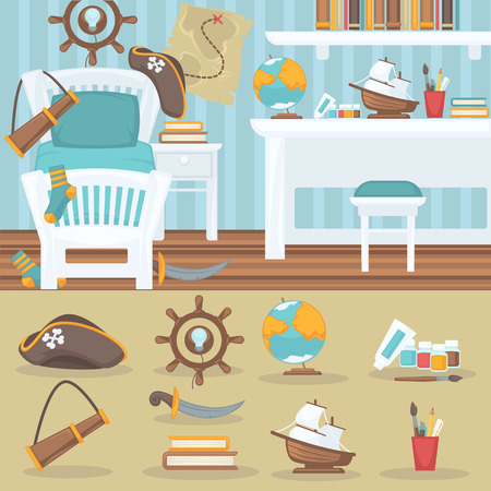 child bedroom: Child bedroom interior for boy. Pirate baby room with furniture and toys. Playroom for kid in flat style. Vector illustration