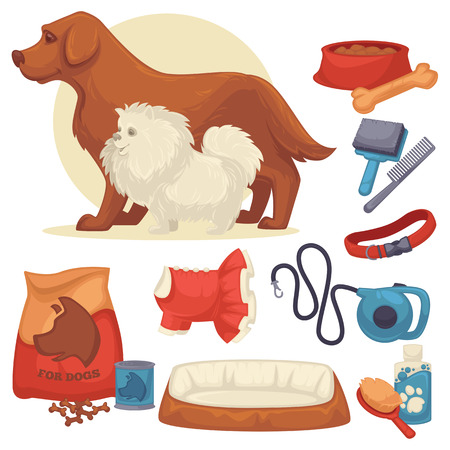 Set of accessories for dogs. Collection of pet symbol. domestic animal icons: bowl, bone, canine food, leash and grooming accessories. Cartoon style. Vector illustration isolated on white Illustration