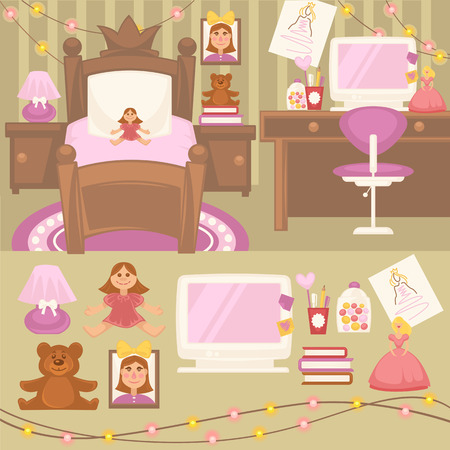 Set of furniture for girls. Design of bedroom. Pink color room: lamp, mirror and bed. Nursery interior. Cartoon style. Vector isolated illustration Illustration