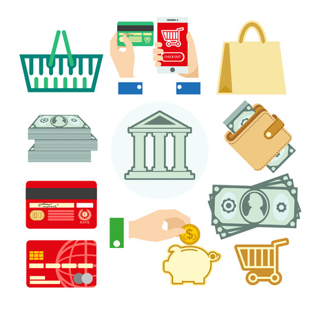 bank cart: Vector finance set of banking icons for business: cash and coins, card and money box, cart and bag. Bank concept illustrations in flat design. Isolated on white background