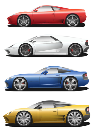 red white blue: Vector set of cars. Sport automobile flat icons. Red, white, blue, yellow auto. Speed symbol. Flat design. Illustration isolated on white background