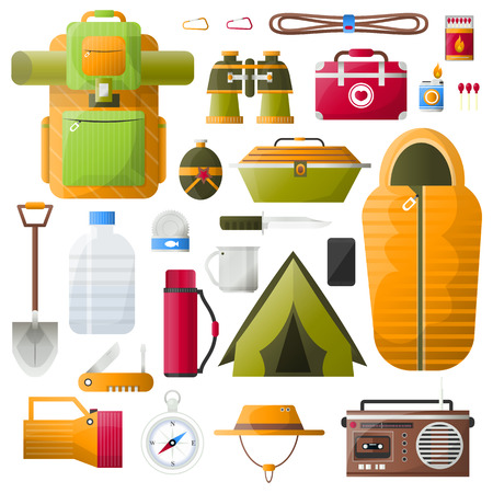 sleeping bags: Kit items for survival, exploration tourism and camping. Icons: emergency box and water, sleeping bag and radio, tent and backpack. Vector illustrations on white background