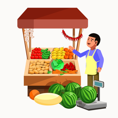 Sprzedawca produktów o warzywach i owocach w kasie i straganie. Sklep wektorowy w stylu płaskim. Kiosk ze świeżymi produktami wegetariańskimi. Ilustracja sklep spożywczy. Ilustracje wektorowe