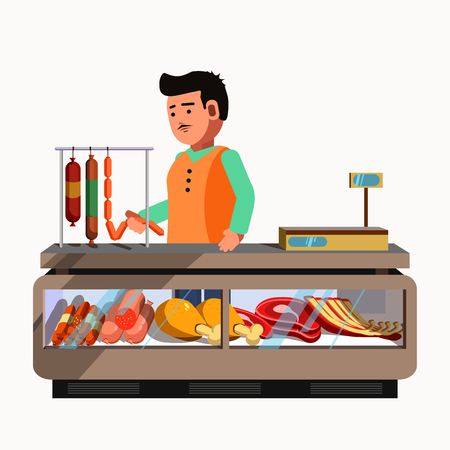 snag: Butcher shop. Meat product seller at the counter and stall market. Vector shop in flat style. Kiosk with sausage products. Grocery store illustration. Illustration