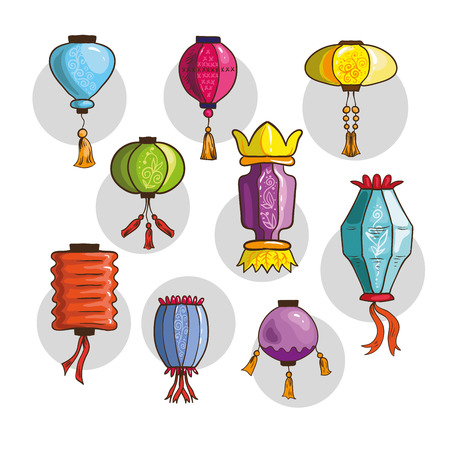 Colorful Chinese lights and lanterns different shapes and colors