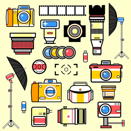 digital camera: Set of equipment for photo studio. Collection vector illustrations: digital camera and lens, flash and tripod, light and umbrella, memory card. Technology symbols. Vector isolated illustration