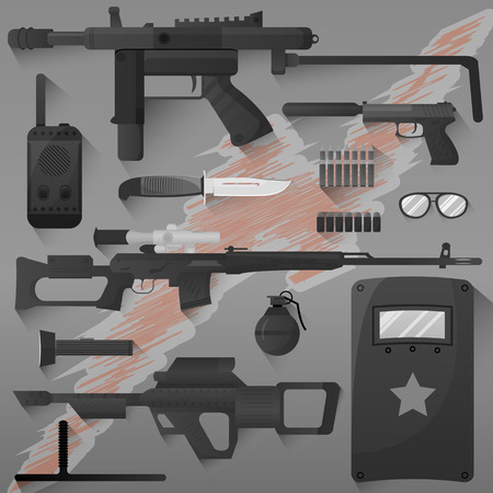 truncheon: Vector set of swat, police gear. Icons of army combat weapons: rifle and grenade, gun and armor, bullet and radio. Military symbols. Flat illustration isolated on white. Illustration