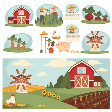 ranch house: Village landscape illustrations with farm building. Set with harvest, ranch and house, barn and field grass. Cartoon elements. Vector isolated on white background.