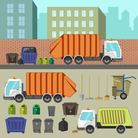 transporting: Trash recycling and removal. Illustration of trucks transporting garbage and waste, cans and sorting. Set of vector elements for design. Isolated on white background