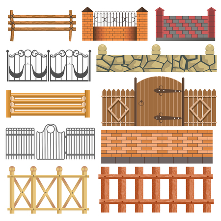 iron: Set of different fence design wooden, metal, stone barriers. Vector fences and gates illustration isolated on white background. Outdoor architecture elements Illustration