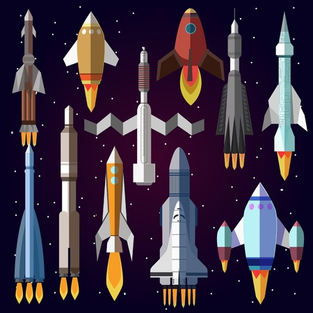 shuttle: Icons set of space rockets. Vector symbol of spaceship, shuttle and spacecraft. space travel. Illustration isolated Illustration