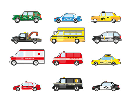 patrol: Set of different types transportation icons. Transport for emergency truck and taxi, police and ambulance, school bus and patrol. Flat design. Vector illustration isolated on white background.