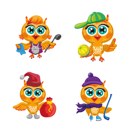 beautiful men: Vector set of cute owls. Cartoon characters of different professions. Make-up artist, hockey player, Santa Claus, hairdresser, athlete, housewife and other occupations. Isolated illustration on white Illustration