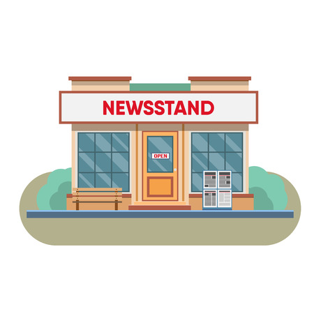 newsstand: Newsstand selling newspapers and magazines in town. Vector illustration.