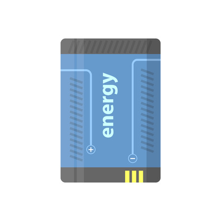 polarity: Battery flat colorful clipart isolated. Vector battery - energy and accumulator. Isolated on white background. Illustration