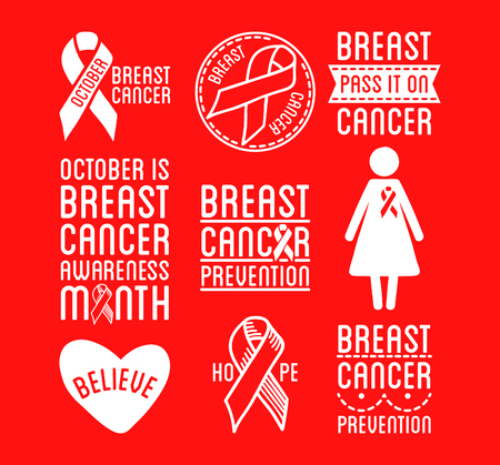 black breast: Set of Breast Cancer Awareness. Black and white vector ribbons and cancer prevention signs for banners and social posters and stickers. Isolated on white background. Illustration