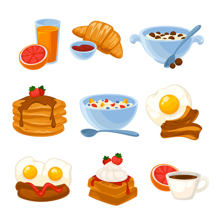 egg roll: Vector breakfast food set. Icons of healthy food orange juice, eggs and bacon, croissant, pancakes, cereal and waffles. Cartoon illustration isolated on white. Illustration