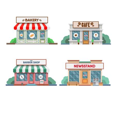 Fachada: belleza, panadería y quiosco de prensa, cafetería fachada en la ciudad. ilustración vectorial