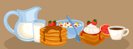 Vector breakfast food set. Icons of healthy food: orange juice, eggs and bacon, croissant, pancakes, cereal and waffles. Cartoon illustration isolated on white. Illustration