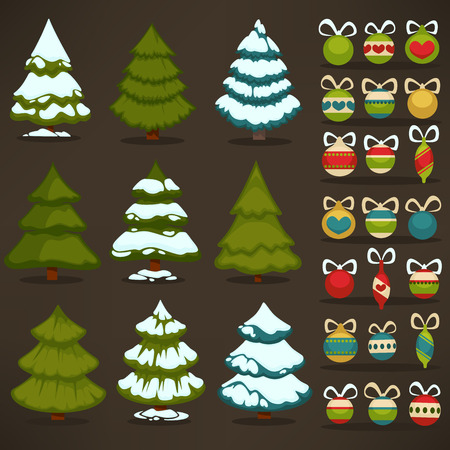 fir trees: Set of christmas green trees and decoration ball. Winter holiday design elements: xmas fir with snow and decoration. Cartoon style. Isolated vector illustrations Illustration