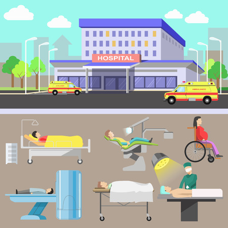 doctor exam: Medical illustration with hospital and ambulance car. Medicine and healthcare concept with diagnostic equipment and medical staff. Flat style. Set of vector elements for design. Isolated on white background