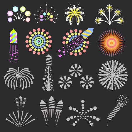 new year celebration: Set of fireworks. Vector design elements for christmas and new year. Celebration and event concept. Flat style. Isolated illustrations