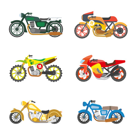 motor vehicle: Set of motorcycles. Motorbike, moto transportation and motor vehicle icons. Power and speed sport bikes. Flat style design. Isolated vector illustrations on white background.