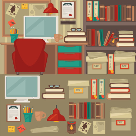 office objects: Home and office furniture interiors and objects. Flat icons set: chair, table, lamp and clock, cup and book, monitor and shelf. Isolated vector illustration Illustration