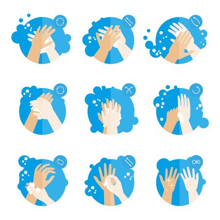 Lavarse las manos adecuadamente: instrucciones médicas para la salud. Procedimiento de higiene limpio con jabón. Conjunto de iconos gordos. Ilustraciones de vectores aislados