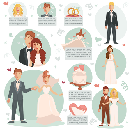 marriage invitation: Bride and groom. Vector illustrations with marriage ceremony and happy couple, dress and ring, wedding cake. Set of flat design element for invitation cards or scrapbook. Illustration