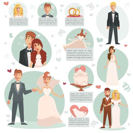 Novia y novio. ilustraciones de vectores con la ceremonia de matrimonio y la pareja feliz, vestido y el anillo, pastel de bodas. Conjunto de elemento de diseño plano para tarjetas de invitación o bloc de notas.