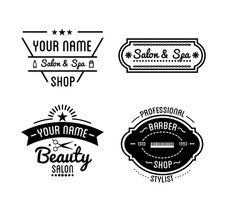 beauty shop: Set of vintage barber shop, beauty spa salon badges. Vector elements. Isolated icons on white background