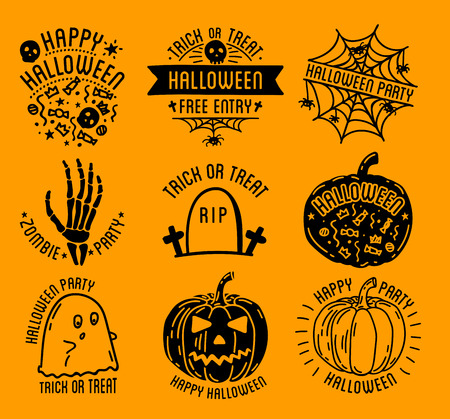 Happy Halloween design collection. Black badges and labels set with text inside. Holiday decoration emblem and stickers. Zombie party. Vector illustration isolated on white background. Illustration