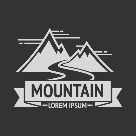 hill top: Mountain exploration vintage  template and badge