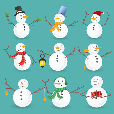 Winter Christmas snowmen collection. Vector illustration. Funny snowman set isolated on white background. Cartoon snowman greeting. Illustration