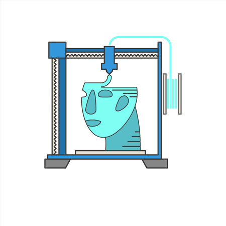 medical symbols: Vector 3D bio-printers with human head. Medical technology symbols. Concept of future biological engineering. Flat design illustration isolated on white Illustration